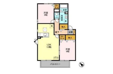 メイプルハウス CⅠ・Ⅱ・Ⅲ 1階 2LDK 賃貸アパート