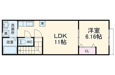 ナリトモ宮崎A 2階 1LDK 賃貸アパート