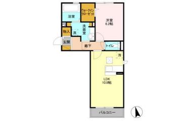 サニーフォレスト A 1階 1LDK 賃貸アパート