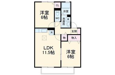 県庁前 徒歩16分 1階 2LDK 賃貸アパート