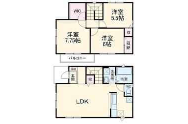 八幡宿 徒歩8分 1-2階 3LDK 賃貸一戸建て