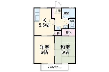 海の公園柴口 徒歩6分 2階 2DK 賃貸アパート