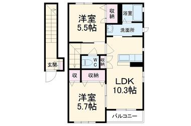 ウィズA 2階 2LDK 賃貸アパート