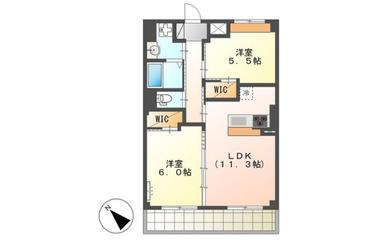 西登戸 徒歩9分 5階 2LDK 賃貸マンション