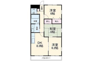 宗吾参道 徒歩19分 2階 3DK 賃貸マンション