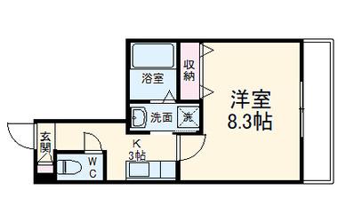 屏風浦 徒歩18分 1階 1K 賃貸マンション