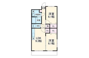 アルエット 1階 2DK 賃貸マンション