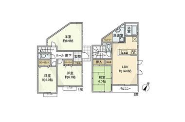 鶴川 徒歩18分 1-2階 4LDK 賃貸一戸建て