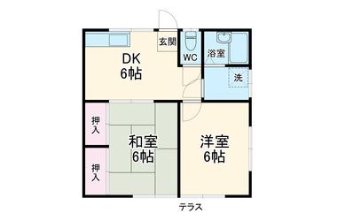 コーポなかや 2階 2DK 賃貸アパート
