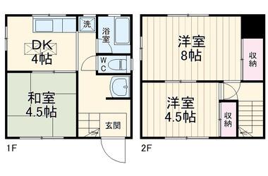 白楽 徒歩14分 2階 3K 賃貸一戸建て