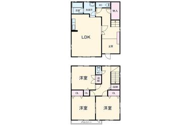 新大津貸家 1-2階 3LDK 賃貸一戸建て