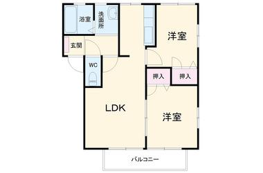 グリーンコートA 2階 2LDK 賃貸アパート