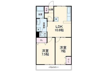 ドミール生田 3階 2LDK 賃貸マンション