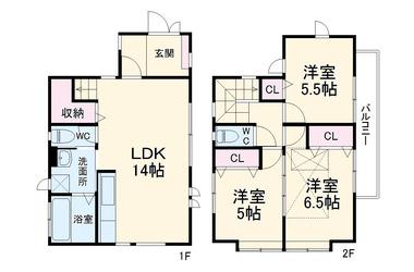 北茅ヶ崎 徒歩8分 1-2階 3LDK 賃貸一戸建て