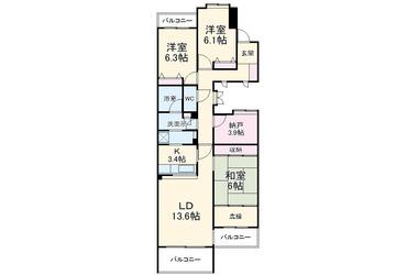 ビューヒルズバームハイツ新横浜2番館 2階 3SLDK 賃貸マンション
