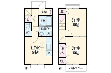 S・K・K桜川ハイツ 伍番館 1-2階 2DK 賃貸アパート