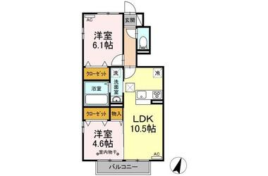 剛志 徒歩56分 1階 2LDK 賃貸アパート