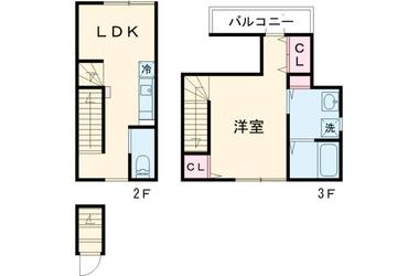 下丸子 徒歩9分 2-3階 1LDK 賃貸アパート