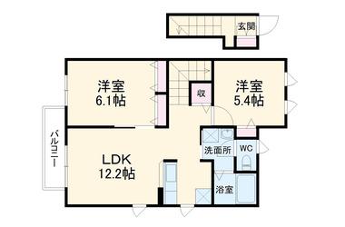 サンモールコーポ成田 2階 2LDK 賃貸アパート