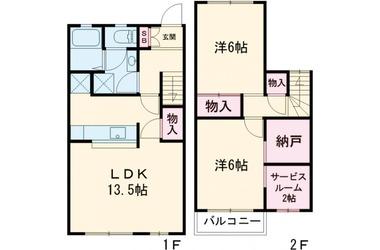 ウォーターパーク塚本E棟 1-2階 2LDK 賃貸アパート