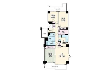 新多摩川ハイム6号棟 2階 3LDK 賃貸マンション