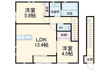 伊奈中央 徒歩3分 2階 2LDK 賃貸アパート