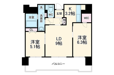 日ノ出町 徒歩10分 6階 2LDK 賃貸マンション