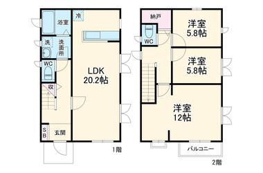 稲荷戸建 1-2階 3LDK 賃貸一戸建て