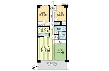 ライオンズヴィアーレ習志野 2階 3LDK 賃貸マンション