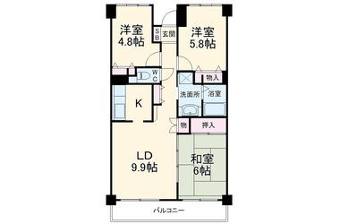 山手 徒歩25分 3階 3LDK 賃貸マンション