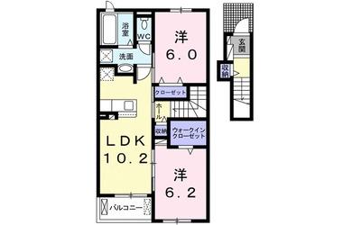 中峠アパートB 2階 2LDK 賃貸アパート