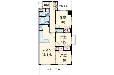 西国立 徒歩15分 2階 3LDK 賃貸マンション