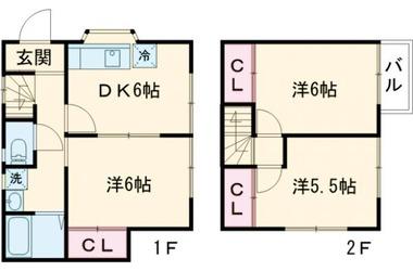 鶴川 バス12分 停歩2分 1-2階 3DK 賃貸一戸建て