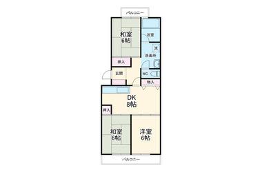 港南台駅前プラザ5号棟 2階 3DK 賃貸マンション