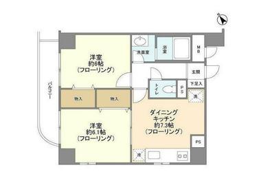 田園調布 徒歩12分 5階 2DK 賃貸マンション