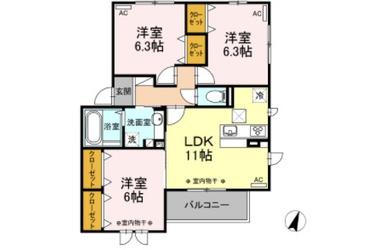 ヴューテラス寺尾の森 B 1階 3LDK 賃貸アパート