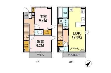 (仮)D-room砂川町 1-2階 2LDK 賃貸アパート