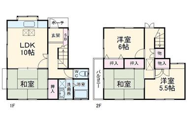 東淵野辺1丁目貸家 1-2階 4LDK 賃貸一戸建て