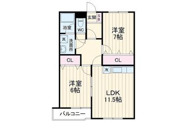 プラウトン 1階 2LDK 賃貸マンション