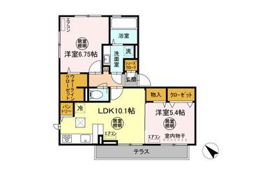 シュエットⅡ 1階 2LDK 賃貸アパート