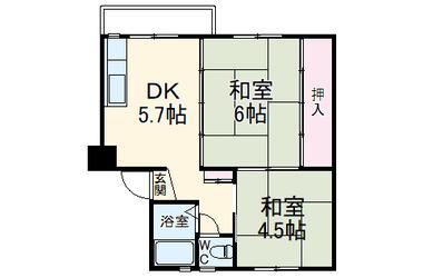 浦賀共同住宅団地9号棟 2階 2DK 賃貸マンション