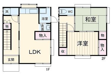 岬中原貸家 1-2階 2LDK 賃貸一戸建て