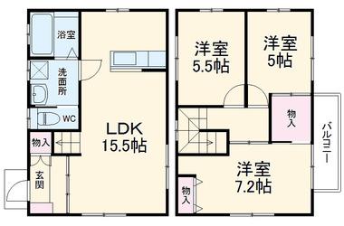 グランシティ東浦和 1-2階 3LDK 賃貸一戸建て