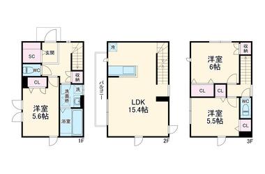 船橋海神戸建A棟 3階 3LDK 賃貸一戸建て