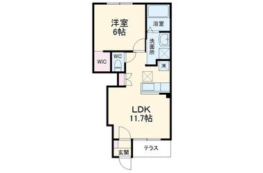 クレスト モネD 1階 1LDK 賃貸アパート