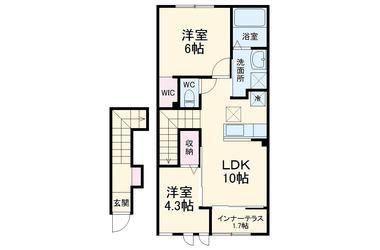 クレスト モネD 2階 2LDK 賃貸アパート