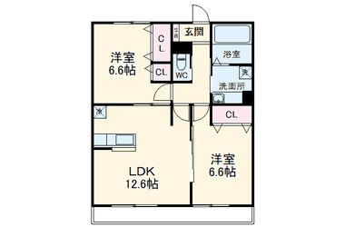 社家 徒歩18分 2階 2LDK 賃貸アパート