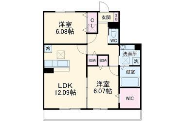 社家 徒歩18分 3階 2LDK 賃貸アパート
