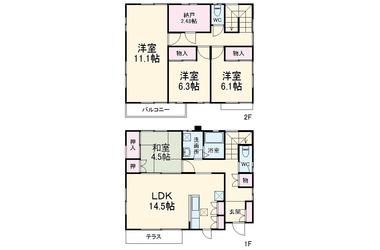 三橋1丁目レントハウス1-2階4LDK 賃貸一戸建て