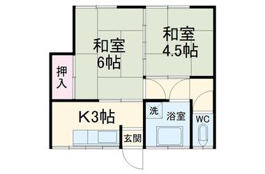 綱島 徒歩20分2階2K 賃貸アパート